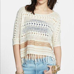 Free People Fringed Crochet Sweater M NEVER WORN